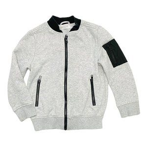 H&M Grey Zip Up Jacket with Black Arm Patch